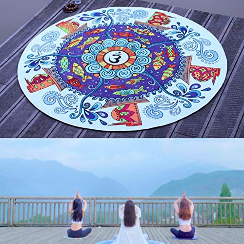 YCEOT 90x90 cm ronde oefening yogamat meditatiekussen diameter anti-slip tapijt print kussen pilates fitness workout