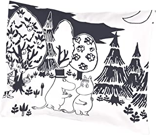 Custom Moomin Evening- Black and White Home Decorative Soft Throw Pillowcase Cushion Custom Pillow Case Cover Protecter with Zipper Standard Size 20x30 Inches Two Sides Printed