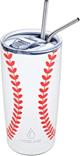 Best Yoelike Baseball Tumbler 20oz Double Wall Vacuum Insulated Mug with Straws and Splash Proof Lid, 18/8 Stainless Steel Travel Coffee Cup for Fan Coaches Women Mom Men Sports, Keep Drinks Cold and Hot Reviews