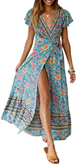 PRETTYGARDEN Women's Summer V Neck Wrap Vintage Floral Print Split Belted Flowy Boho Beach Long Dress