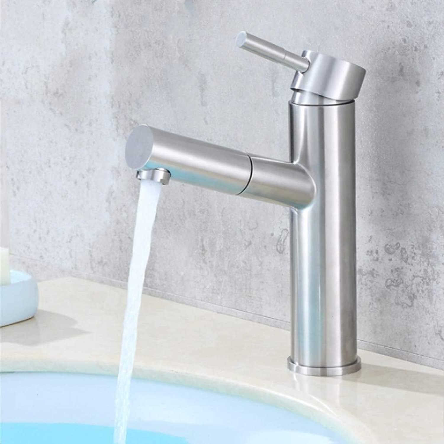 YHSGY Kitchen Taps Sus304 Stainless Steel Pull-Out Kitchen Basin Hot and Cold Water Faucet Tap