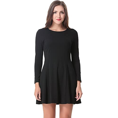 f5c59bc230 Aphratti Women s Long Sleeve Casual Slim Fit Crew Neck Dress