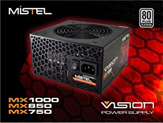 Mistel Vision MX1000 Power Supply with 1000W 80 Plus Platinum Certified PSU, Full Modular Power Supply for PC, Featuring with RGB LED Power Supply Controlled via Motherboard