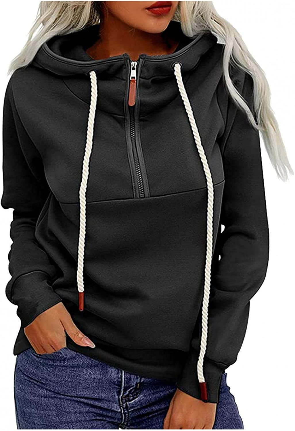 Women's Long Sleeve Half Zip Up Hooded Sweatshirt Solid Stylish Loose Fit Casual Pullover Tunic Tops Hoodies