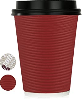 Disposable Hot Coffee Insulated Cups By Golden Spoon – 50 Pack Set Complete With Lids – Stylish Contemporary Ripple Design - Perfect For Take Away Coffee Shops And Bars (12 oz, Red)