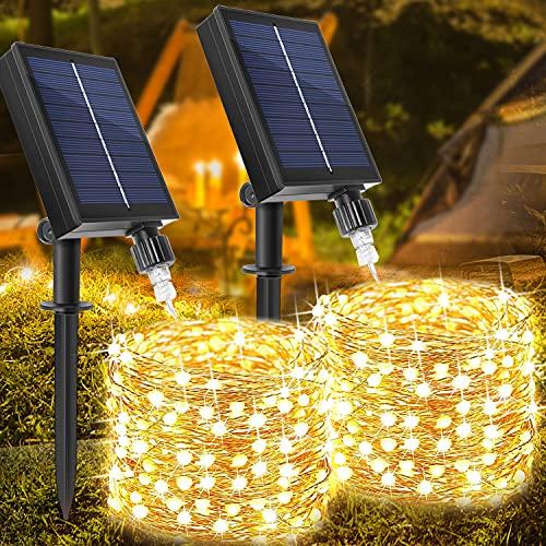 [2 Stück] Solar Lichterkette Aussen, WAGLICK neue 10M 100 LED IP65 Wasserdicht 8 Modus Balkon Lichterkette Solar Außen für Zaun, Party, Balkon, Garten, Weihnachten Dekorationen (Warmweiß)