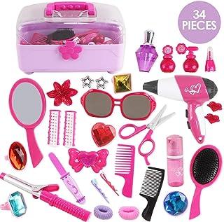 deAO Juego de Belleza y Moda Maletín Incluye Maquillaje Artificial, Accesorios de Pelo, Secador de Aire Frio a Pilas y Más (34 Piezas en Total).