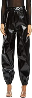 HAHASOLE Womens Faux Leather Cargo Pants with Chain Sexy PU High Waist Loose Fit Pant Black