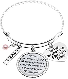 Stainless Steel Mom Gifts from Daughter Bracelet, The Love Between Mother & Daughter is Forever, Mothers Day Jewelry Holiday Wedding Keepsake Glass Dome Bangle