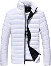 succeedtop Men's Big and Tall Lightweight Packable Puffer Jacket Men Casual Warm Cotton Stand Zipper Warm Winter Thick Coat Jacket Slim Coat Outwear (XL, White)