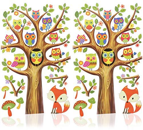 com-four® 2X Wandtattoo mit kleinen Eulen - Selbstklebende Deko - Wandsticker für Kinder - Wiederverwendbare Wandaufkleber (02 Stück - Wandtattoo Eulen)