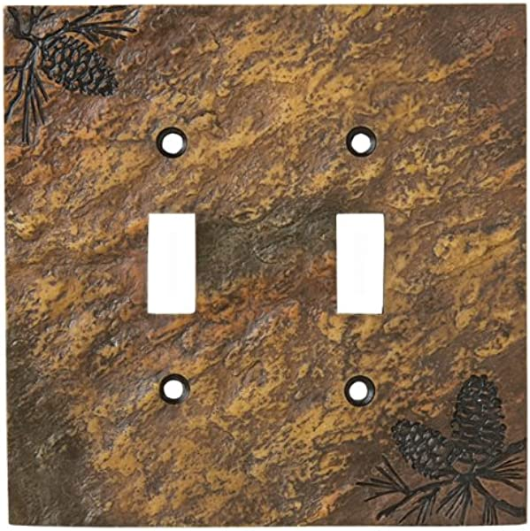 Black Forest D Cor Stone Finish Pinecone Double Switch Plate Cover