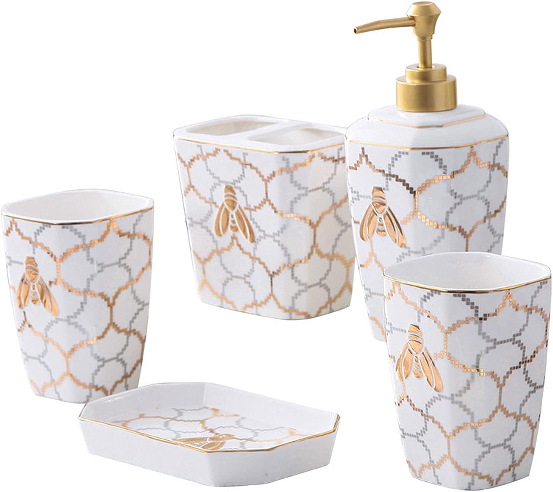 LYJY White Ceramic Bathroom Colorado Soldering Springs Mall Accessories 5-Piece Mouthwash Set C
