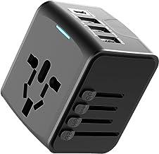EXTSUD Universele reisadapter, reisstekker met 3 USB-poorten en type C internationale oplader, veiligheid AC-stopcontact m...