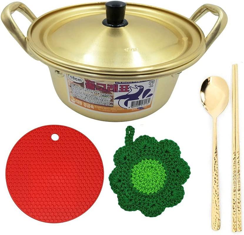 Abkitchen Korean Ramen Noodles Pot 6 3 Inches 16 Cm Golden Color Chopsticks And Spoon Set Multi Purpose Trivet Mat Dish Scrubber 6 Pcs