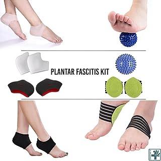 OrthoCare S. - Kit Fascitis plantar: Manga para fascitis plantar, bola de masaje, soporte para el arco del pie, masajeador de pie, almohadillas para el talón y arco, tobillera
