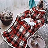 Tirrinia Sherpa Wearable Blanket for Adult Women and Men, Super Soft Comfy Warm Plush Throw with Sleeves TV Blanket Wrap Robe Cover for Sofa, Couch 72' x 55' Red Buffalo Plaid