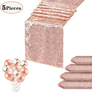QueenDream 12x108 Inches Rose Gold Sequin Table Runners Wedding Table Runners-5 Pack and Confetti Balloons Rose Gold Latex Balloons for Party Festival and Home Decorations