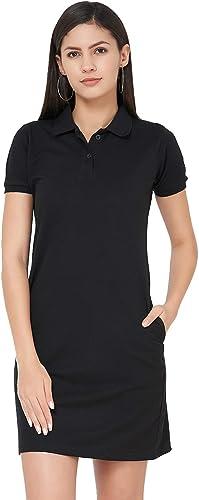 WYO Women Pique Collar Polo Neck Fashion Midi Knee Length T Shirt Dress