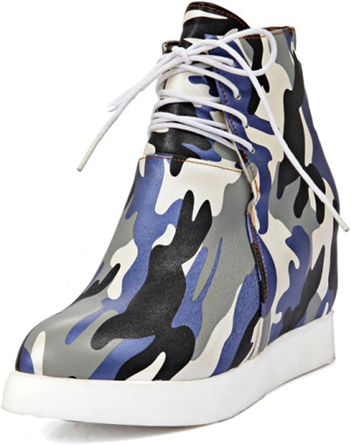 IDIFU Women's Stylish Camouflage Platform Wedge Lace Up Sneakers Boots with Hidden Heels