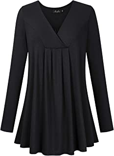 AMZ PLUS Women's Plus Size Pleated Henley Tops V-Neck Loose Blouse Casual Tunic Shirt