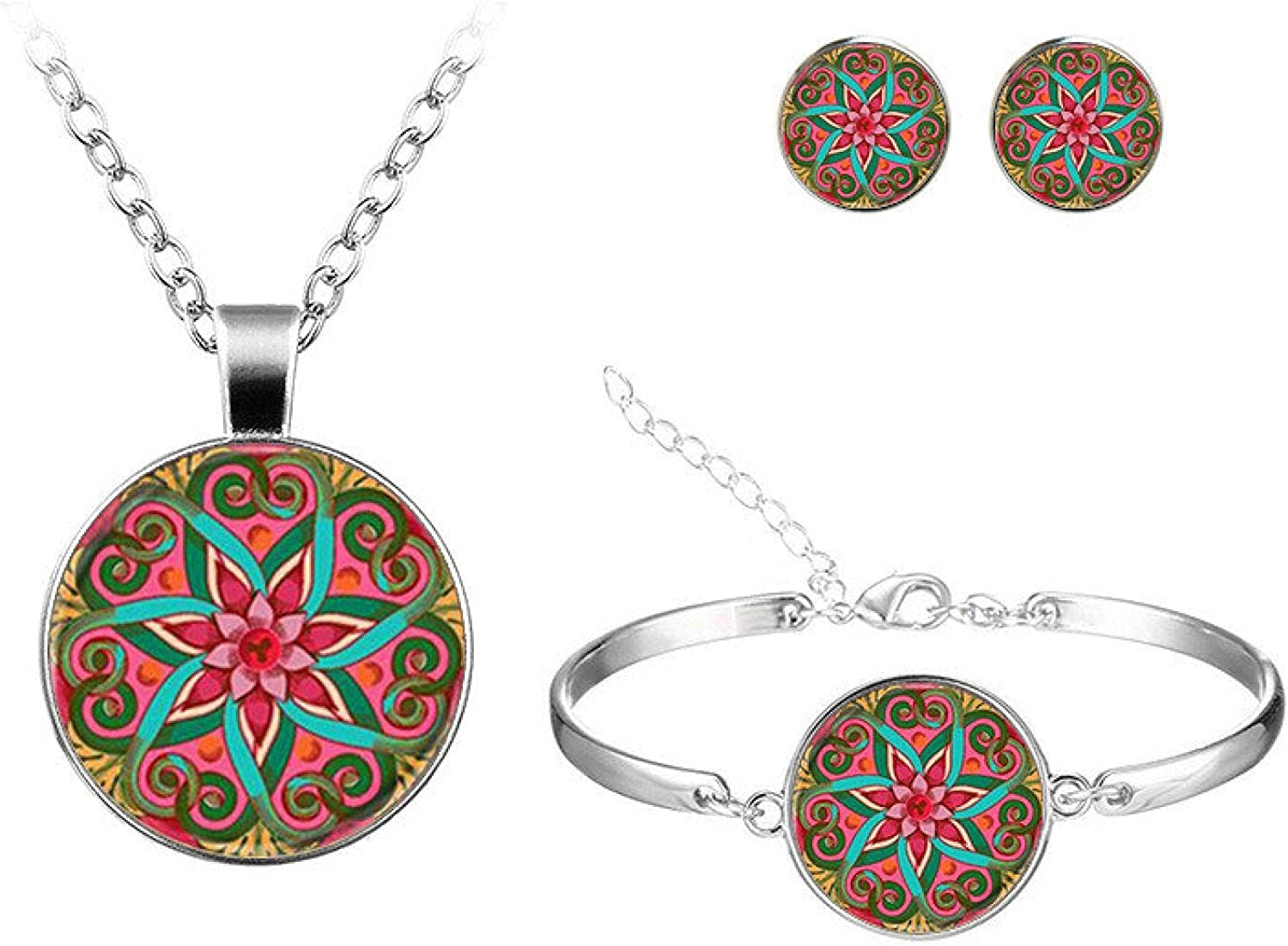 Geometric Flower Lotus Art Round Glass Pattern Jewelry Sets Classic Stud Earrings Bangles Necklace Sets