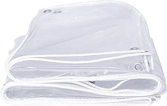 Schaduw en regendicht zwembad tafelhoes Clear Tarpaulin, 400g/m² PVC Tarp Sheet 100% Waterdicht Rip Resistant Met Grommet...
