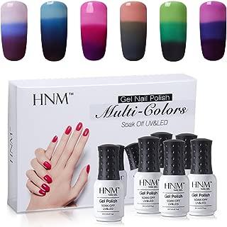 HNM Thermal Temperature Color Changing Gel Nail Polish Set Soak Off UV LED Nail Art Gift Box Kit 6 Colors C001