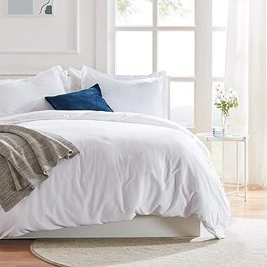 Sleep Zone Bedding Duvet Cover Cooling 120gsm Soft Zipper Closure Corner Ties 3 PC, Microfiber, White, Twin