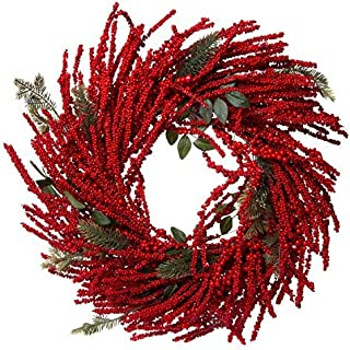 Vibrant Artificial Red Berry Burst Wreath - Great Front Door and Wall Winter Christmas Decoration - 28 Inches