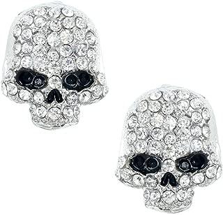 EVER FAITH Women's Austrian Crystal Halloween Cute Skull Pierced Stud Earrings Clear