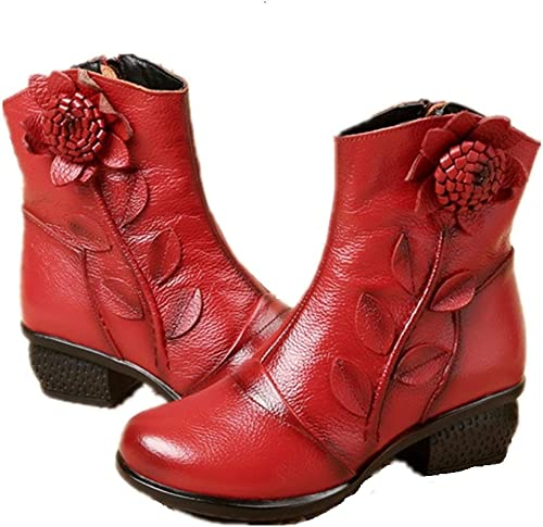 ZHRUI Fleurs Vintage Femmes Bottes Bloc Chaussures en Cuir à Fermeture éclair Douce (Couleuré   Rouge, Taille   EU 41)
