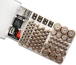 Organizador de la batería, de Montaje en Pared de Almacenamiento, sostenedor del Soporte de la batería de 93 Pilas Adapta con el probador de la batería de 9V AA AAA C y D Tamaño de Baterías