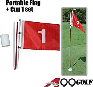 A99 Golf Practice Portable Flag & Cup Hole Pole Cup Flag Stick Putting Green Flagstick (Flag #1)