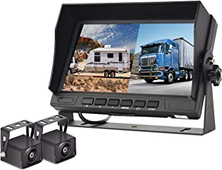 Podofo Backup Camera Kit, HD 1080P 7 '' Monitor Display Reversing Rear View Camera for Trucks RVs Trailers Campers, Two Vi... photo