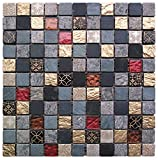Intrend Tile NS006-A Natural Stone Glass Square Mosaic Blend Tile Sheets, 12 x 12 x .31-Inches, Royal Gold/Red