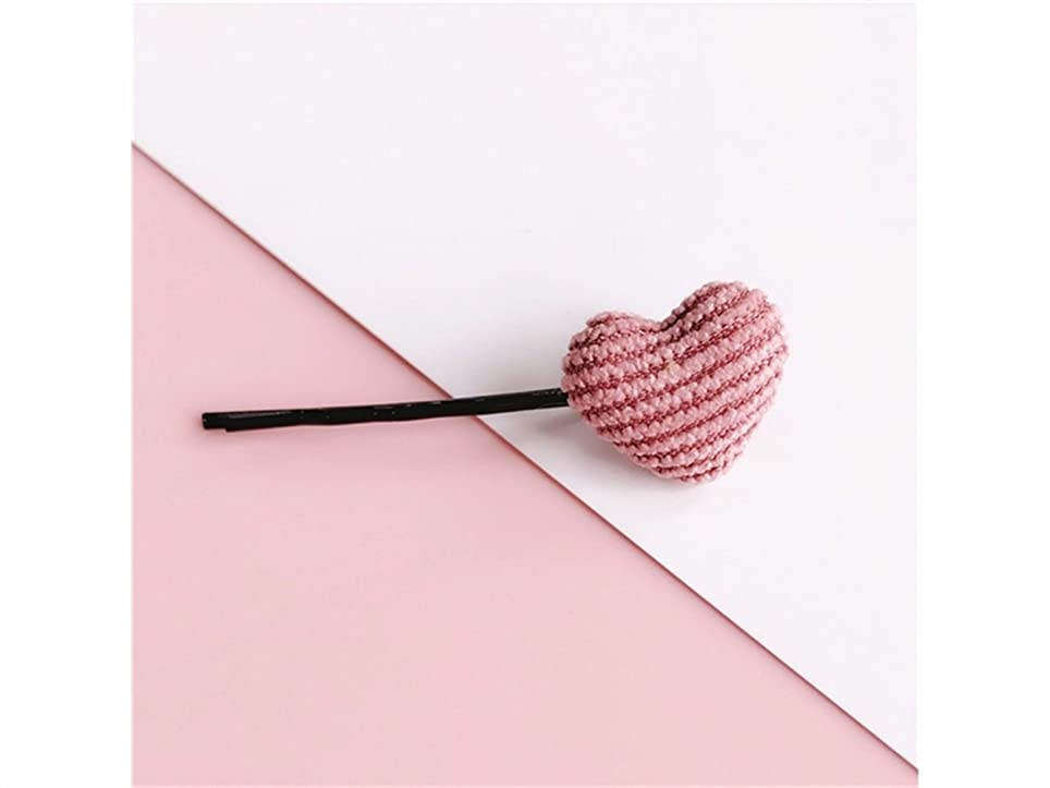 マグ敬礼テザーOsize 美しいスタイル ペンタグラムフラワーラブシェイプストライプヘアクリップワンワードクリップヘアアクセサリー(ピンクラブ)