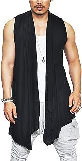 Men's Ruffle Shawl Collar Cardigan Sleeveless Open Front Vest Lightweight Cotton Long Length Drape Cape
