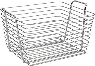 InterDesign Classico panier rangement, grand panier en métal avec poignées, corbeille rangement pour accessoires de salle ...