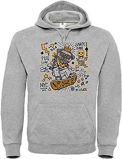 Druckerlebnis24 Sudadera con capucha unisex para niños y niñas con diseño de carlino y calavera