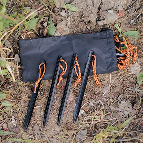 OBKJJ Tent Stakes,7075Aluminium Tent Nail Lightweight with Reflective Rope 12-Piece