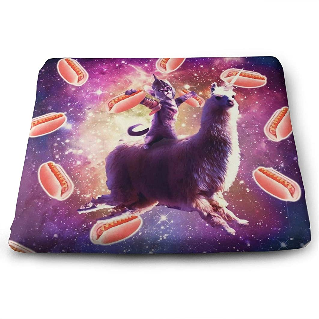 CHARLESNORTON Warrior Space Cat On Unicorn,Extra-Comfortable & Soft Square Seat Cushions for Kitchen Chairs