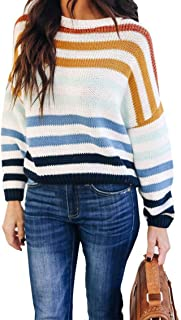 Women's Strip Color Block Short Sweater Long Sleeves...