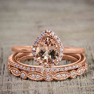 2.25 Carat Pear cut Morganite and Diamond Trio Wedding Ring Set On Rose Gold with Engagement Ring and Two Wedding Bands