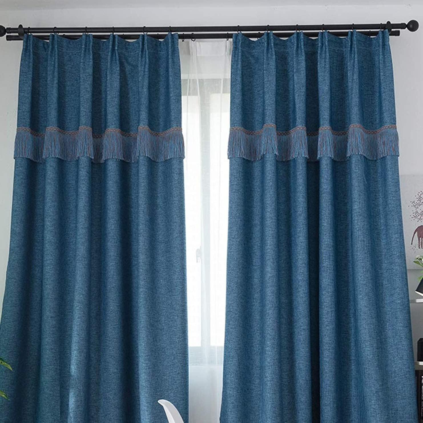 リネンスタイル、シンプルでシックなブラックアウトカーテン、リビングルームのベッドルーム、仕上げカーテン、飾りとフック付き(2パターン、5サイズ) (色 : ブロンズ, サイズ さいず : 350*270cm)