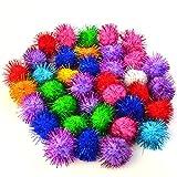 baotongle 70 PCS Assorted Color Sparkle Balls, Tinsel Pom Poms Glitter For Cat kittens