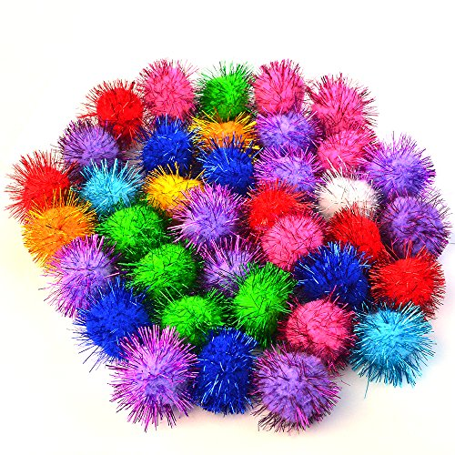 baotongle 70 PCS Assorted Color Sparkle Balls, Tinsel Pom Poms Glitter For Cat...