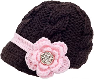Handmade Newborn Toddler Baby Girls Crochet Knit Brim Cap Hat Medium Brown
