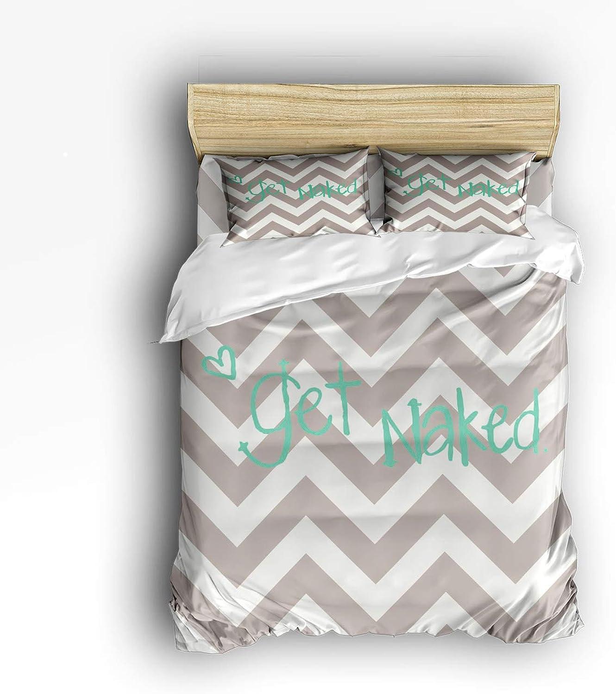 USOPHIA Full Size 4 Pieces Bed Sheets Set, Get Naked,Ripple 3D Print Floral Duvet Cover Set