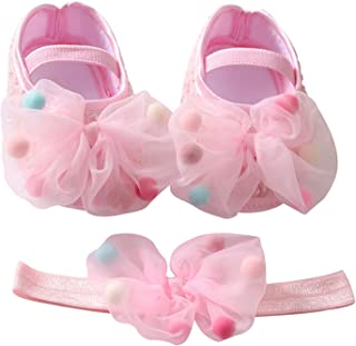 Baby Girl Mesh Bowknot Princess Shoes Headband Set Toddler Soft Sole Walking Shoes First Walkers 0-18M (Baby Age : 0-6 Mon...